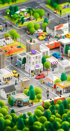 3d City model created by Anna Paschenko, a freelancer designer and illustrator from Saint Petersburg, Russia. Super detailed city in 3D in Sim City style.