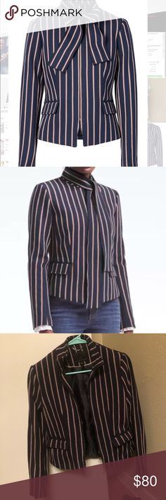 Banana Republic bow neck tie striped jacket Super cute jacket, only worn once. Moved to warmer climates, so I unfortunately have no need for it. 100% cotton. There's a button at the back of the neck to attach and remove the neck tie. (I wore it without the neck tie) Offers more than welcome. Banana Republic Jackets & Coats