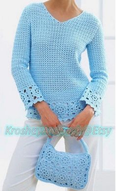 Ladies Tunic And Purse, Crochet Pattern. To Fit Bust Size: 32 / 34 / 36 / 38 / 40 -- / / / cm. Purse Approxiamte Size: 7 x / 18 x cm. Crochet Hook Size: mm / US D This is a PDF file ONLY of the original pattern book. Lacy Tunic And Purse in Patons Grace. Crochet Tunic Pattern, Bonnet Crochet, Crochet Cardigan, Knitting Patterns, Crochet Patterns, Free Knitting, Free Crochet, Knit Crochet, Crochet Granny