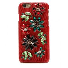 Dolce & Gabbana Embellished Leather iPhone 6 Case ($605) ❤ liked on Polyvore featuring accessories, tech accessories, red, wallets & cases and dolce&gabbana