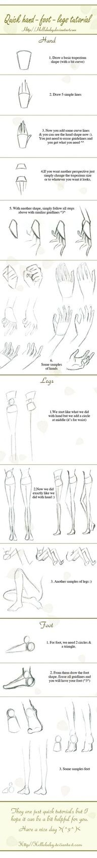 """Simple sketching tips. Quick hand-legs-foot tutorial by `Hellobaby on deviantART"""" data-componentType=""""MODAL_PIN"""