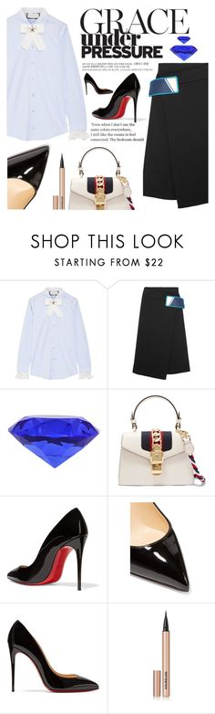 """""""Untitled #2213"""" by anarita11 ❤ liked on Polyvore featuring Gucci, Prada, Christian Louboutin and Hourglass Cosmetics"""