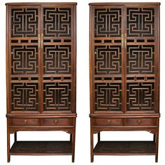 Chinese furniture armoire with lattice work