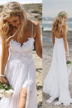 A-line Wedding Dresses, White Wedding Dresses, Long Wedding Dresses With Lace Spaghetti Strap Straps #weddingdresses2018 #laceweddingdresses #whitedresses