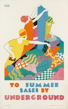 HORACE TAYLOR (1881 1934) TO SUMMER SALES BY UNDERGROUND 192 Mini Poster, A4 Poster, Poster Sizes, Art Deco Illustration, Fashion Illustration Vintage, Art Nouveau, Vintage Travel Posters, Vintage Ads, Vintage London