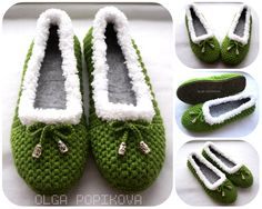 How To Crochet Cozy House Slippers - Yarn & Hooks Easy Crochet Slippers, Crochet Cozy, Cute Slippers, Booties Crochet, Crochet Shoes, Crochet Crafts, Crochet Clothes, Diy Crafts, Crochet Video