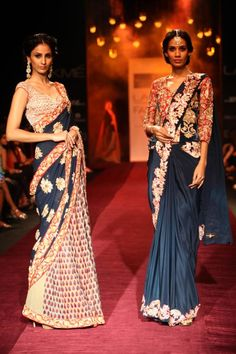Luxurious, chic and modern saris by Shyamal and Bhumika