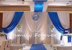 New Fashion Elegent Ready Made White+Royal Blue Ice Material Wedding Pleated Backdrops(China (Mainland))