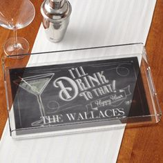 Personalized Serving Tray - I'll Drink To That - Cute design you can personalize with any drink graphic like beer, wine, martinis, etc. Great housewarming gift idea or perfect for happy hour cocktails!