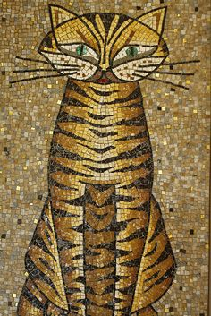 Mosaic Tile Cat by chowromano, via Flickr