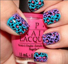 If you are really into manicure art and you want to try something totally different then this one is for you I assure you your nails will look fantastic in this bright purple, teal and totally leopard nail art. a nail polish with the name. Neon Nail Art, Neon Nails, Love Nails, Pretty Nails, How To Do Nails, Art Nails, Gradient Nails, Nail Art Designs, Nail Polish Designs