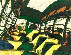 Cyril E. Power (+Sybil Andrews) The Sunshine Roof, linocut on paper Illustrations, Illustration Art, Diego Velazquez, Francis Picabia, John Everett Millais, Canadian Artists, Wood Engraving, Linocut Prints, Limited Edition Prints