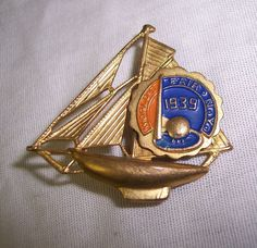 1939 New York World's Fair Sail Boat Brooch