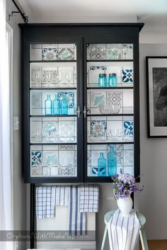 Upcycled Glass Cabinet with Patterned Ceramic and Talavera Tiles Stencils - Royal Design Studio Faux Tile Stencils Designs for DIY Painted Furniture Projects