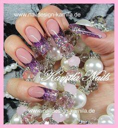 #Glitter #french #purple