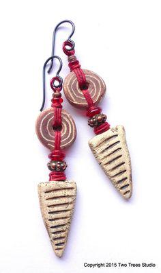 Whimsical organic artisan earrings rustic fun by TwoTreesStudio