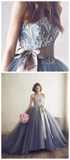 Grey Tulle A line Evening Prom Dresses, Ball Gown Party Prom Dress, Custom Long Prom Dresses, Cheap Formal Prom Dresses, 17078