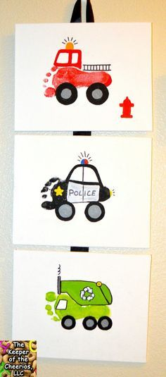 Fire Truck, Police Car, & Garbage Truck footprints & handprints
