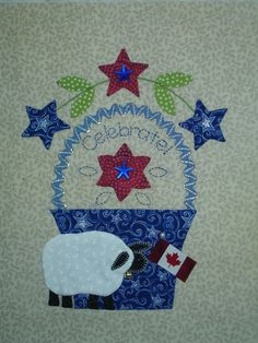 Block 7 - July Bunny Hill Block of the Month Wool Applique, Applique Quilts, Pattern Blocks, Quilt Patterns, Patriotic Quilts, Basket Quilt, Cat Quilt, Block Of The Month, Vintage Quilts