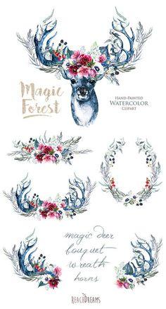 Watercolor Magic Deer Antlers Stag horns Wild Boho by ReachDreams