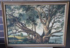 "RARE Vintage Original Framed Print Picture - Kitsch- ALFRED SHARPE- ""Pohutukawa 1876"