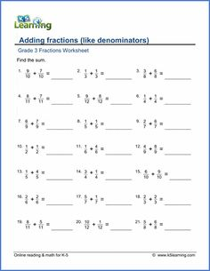Adding fractions with like denominators   K5 Learning