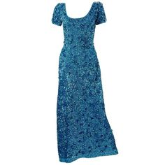 Preowned 1960s Blue Beaded Gown ($370) ❤ liked on Polyvore featuring dresses, gowns, vintage, 1960s, blue, blue evening dresses, blue ball gown, couture dresses, zip back dress and blue dress