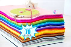 100% Wool Felt Sheets  70 Sheets of 8 X 12  All by CraftyWoolFelt