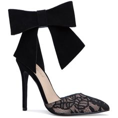 ShoeDazzle Pumps Lacella Bow Pump Womens Black ❤ liked on Polyvore featuring shoes, pumps, black, black bow shoes, black court shoes, black lace pumps, special occasion shoes and lace shoes