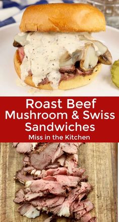 A Mushroom and Swiss Roast Beef Sandwich is a quick and easy dinner for any night of the week. Thin sliced roast beef piled high with sautéed mushrooms and Swiss cheese is drizzled with homemade white bbq sauce on a brioche bun. This is one epic sandwich! Deli Sandwiches, Hot Sandwich Recipes, Roast Beef Sandwiches, Healthy Sandwiches, Delicious Sandwiches, Soup And Sandwich, Roast Beef Panini, Roast Beef Dinner, Bbq Sandwich