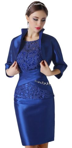 Albrose Lace Mother of the Bride Evening Dresses knee length with Jacket at Amazon Women's Clothing store: