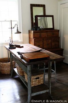 not only would this be a great desk, but think of a folding table in the library.
