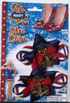 Lady In The Navy Patriotic Costume Bow Shoe Clip Set