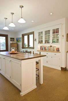 farmhouse kitchen remodel - love the built in hutch with cookbook or cookie jar collection space