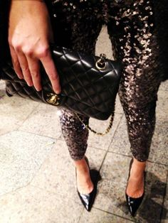 Sequin pants and Chanel bag