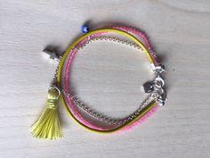 Pink quartz, evil eye, tassle, sterling silver and genuine leather bracelet by MastoriJewelry on Etsy