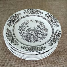 Brown Transferware , Ironstone, Sussex by Royal Set of 6 Bread and Butter/Dessert Plates by MyComfyCozyHome on Etsy