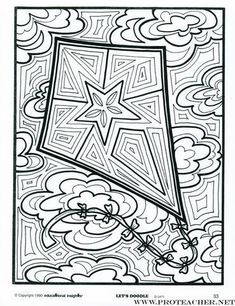 Awesome #kite coloring page!
