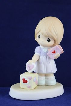 Precious Moments Girl Putting Valentine into Box - I Give My Heart to You 730001 #Figurine