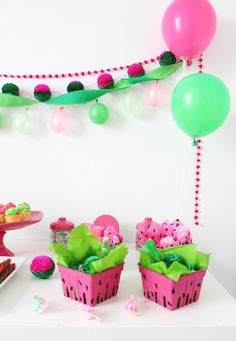 Cute colored berry boxes make sweet little watermelon party favors! | A Joyful Riot