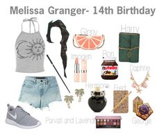 """Melissa Granger- 14th Birthday"" by unitedbypotter ❤ liked on Polyvore featuring T By Alexander Wang, NIKE, Kate Spade, ASOS, Aéropostale, Anastasia Beverly Hills, Nomess and Paper Mate"
