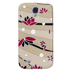 Vintage Red Lotus Flowers on Beige Stripes Samsung Galaxy S4 Cover