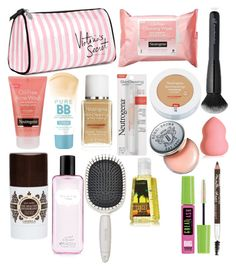 """""""What's In My MakeUp Bag"""" by tmezini ❤ liked on Polyvore featuring beauty, Victoria's Secret, Maybelline, Neutrogena, Lavanila, Earth Therapeutics and Bobbi Brown Cosmetics"""