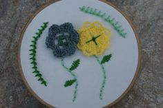 yellow and blue floral hand embroidery hoop art, vintage, retro, floral embroidery, decor wall art