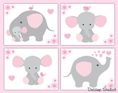 Pink and gray elephant wallpaper border wall art decals for baby girl safari jungle animal nursery decor. Add matching wall art prints and baby's first year scrapbook pages. One set includes four sticker sheets. Pink Elephant Nursery, Elephant Bedding, Elephant Wall Art, Baby Girl Elephant, Elephant Baby Showers, Grey Elephant, Animal Nursery, Cartoon Elephant, Baby Boy