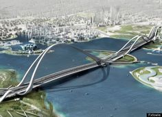 Sheikh Rashid bin Saeed Crossing, Dubai. Due to be completed in 2012, the Sheikh Rashid bin Saeed Crossing in Dubai will carry 12 lanes of traffic (6 in each direction) and be able to carry 20,00 cars an hour. It will also be the longest arch bridge in the world.
