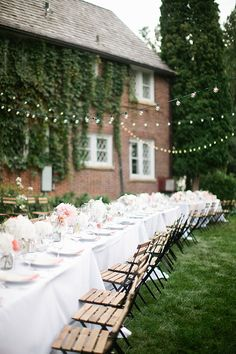Cafe lights are always romantic for wedding receptions | @canarygrey | Brides.com
