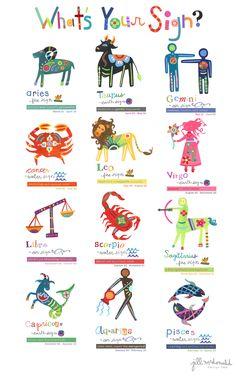 Zodiac/Star Sign Illustrations by Jill McDonald Design