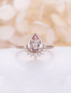 Morganite engagement ring Vintage Rose Gold Unique Engagement Ring Diamond Wedding women Bridal set Jewelry Pear Shaped Stacking Promise by NyFineJewelry on Etsy https://www.etsy.com/ca/listing/596770293/morganite-engagement-ring-vintage-rose