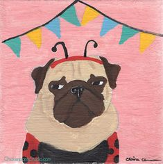 Party Pooper - Original Pug Painting by Claire Chambers / Chickenpants Studio Your Paintings, Original Paintings, Original Art, Pug Illustration, Pug Art, Party Needs, Pugs, Stretched Canvas, Kids Rugs
